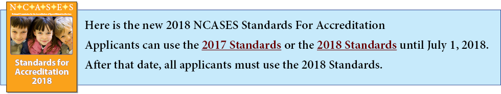NCASES 2018 Standards For Accreditation Banner